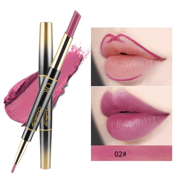 New Double-end Lipstick Pen Easy to Wear Long-lasting Natural Lasting Lipliner Waterproof Lip Liner Stick Pencil 14 Color Beauty