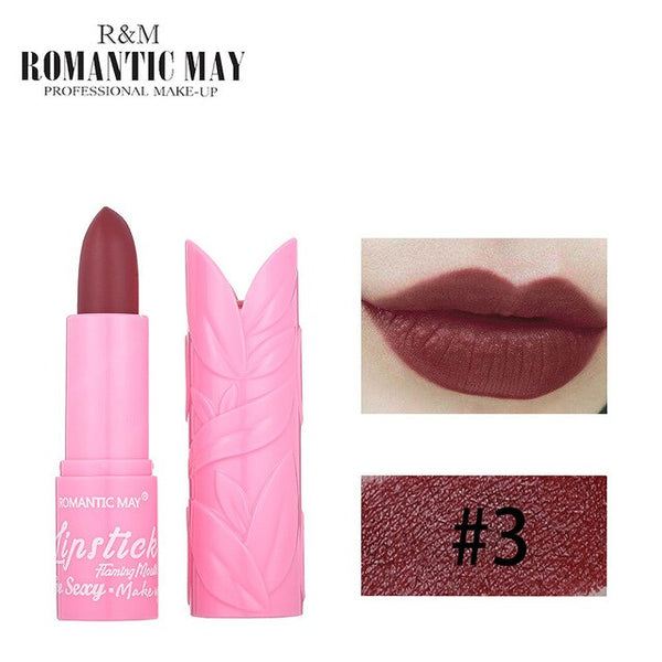 New Fashion ROMANTIC MAY Lipstick Moisturizer Matte Lips Stick Long Lasting Charming Maquiagem Drop Shipping