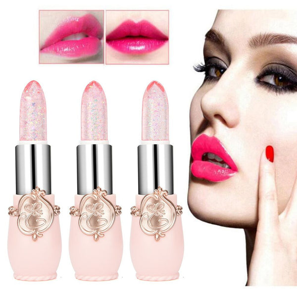 New Lipstick 3Pcs/Set Beauty Bright Crystal Jelly Lipstick Magic Temperature Change Color Lip Balm Makeup Lipgloss