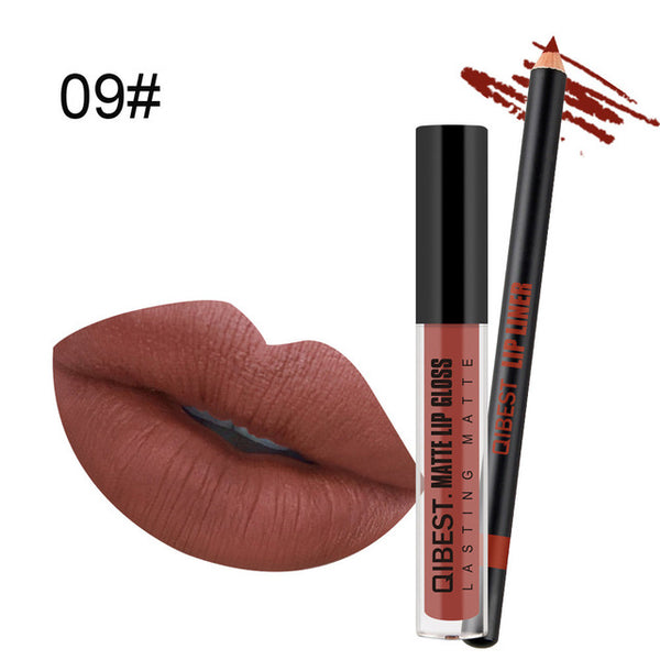 New Pro Fashion Lip Gloss Beauty Waterproof Matte Liquid Lipstick Long Lasting Lip Gloss Lipstick With Lip Liner Pen Set