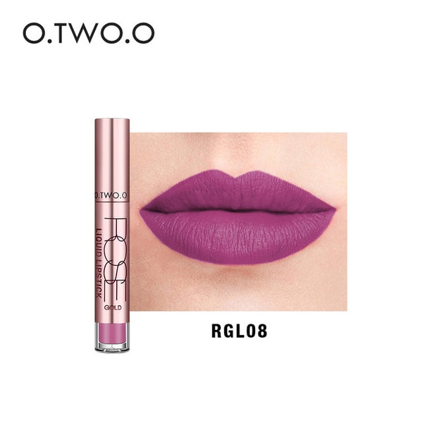 O.TWO.O 12 Colors Matte Liquid Lipstick Kiss Proof Lipstick Lip Tattoo Makeup Long Lasting Pigment Nude Gold Metallic Lipgloss