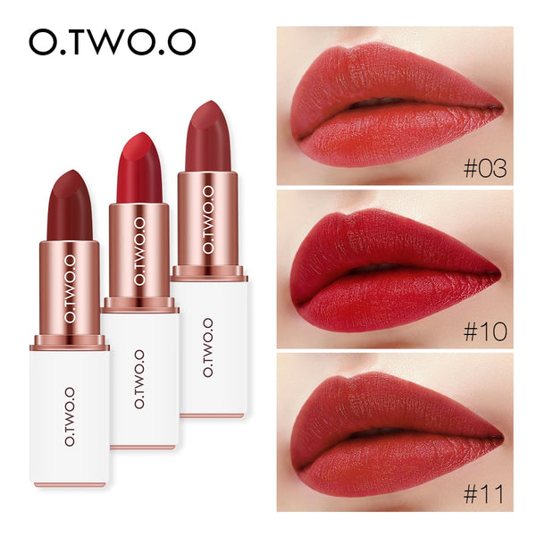 O.TWO.O 12 Colors Waterproof Lipstick Velvet Matte Rouge Cosmetics Make Up lip Moisturizing Nutritious Lips Cosmetics