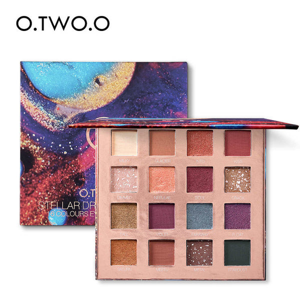 O.TWO.O 16 Colors Palette Eyeshadow Shimmer Eyeshadow Palette Matte Highlighter Eye Shadow Glitter Palette Make Up