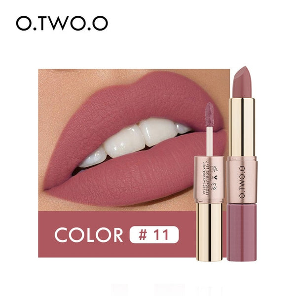 NEW 2 in 1 Matte Lipstick Lips Makeup Cosmetics Waterproof  Mate Lip Gloss Rouge 12 Colors