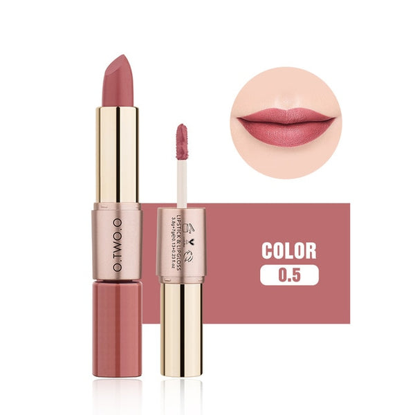 O.TWO.O 2 in 1 Matte liquid Lipstick and Matte Lip gloss Makeup Moisturizing Long Lasting Waterproof Velvet Lipstick 12 Color