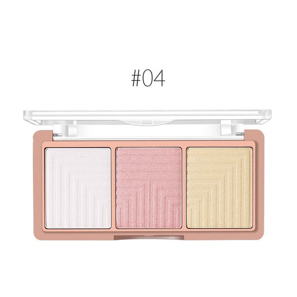 O.TWO.O 3 Colors Highlighter Blusher Powder Palette Face Contour Powder Highlighter Blusher Bronzer Makeup Foundation Powder