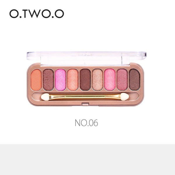 O.TWO.O 9 Colors Palette Eyeshadow With Brush Make Up Eye Shadow Matte Makeup Long Lasting Shimmer Glamorous Smokey Eye Shadow
