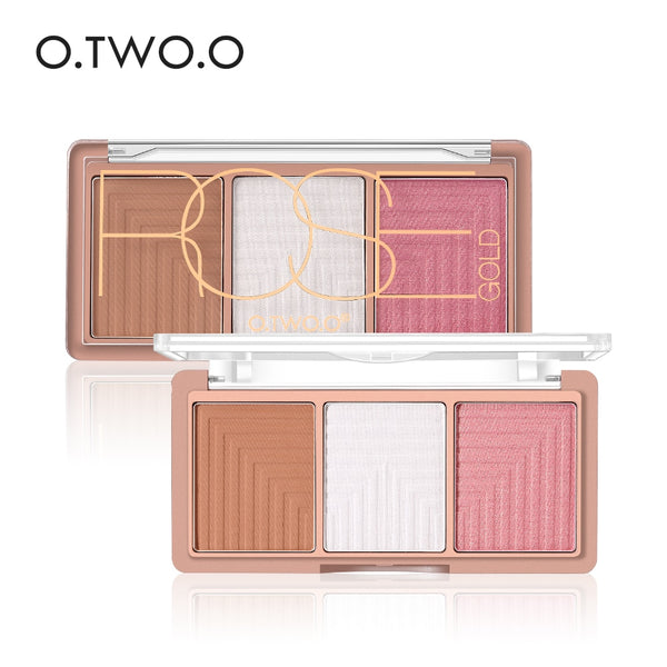 O.TWO.O Highlighter Blusher Powder Palette Face Contour Powder Highlighter Blusher Bronzer Makeup Base Foundation Powder