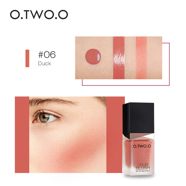 O.TWO.O Liquid Blusher 6 Color Face Makeup Silky Lasting Natural Cheek Rouge Rose Peach Red Color Shimmer Blush Cream Cosmetics
