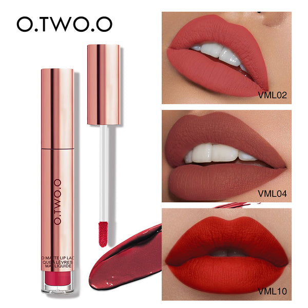 O.TWO.O Liquid Lipstick Waterproof Long Lasting Matte Velvet Lip Gloss Makeup Smooth Lip Tint Pigment Red Lips Cosmetics