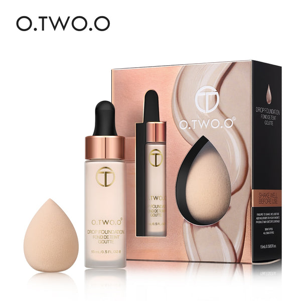 O.TWO.O Matte Foundation With Sponge Puff Kit Matte Effect Velvet Texture Liquid Drop Foundations Makeup Set Concealer Lasting