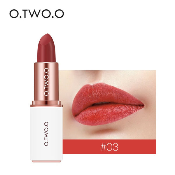 O.TWO.O Professional 12 Colors Lipstick Matte Lipsticks Waterproof Long-lasting Easy to Wear Cosmetic Red Makeup Lips