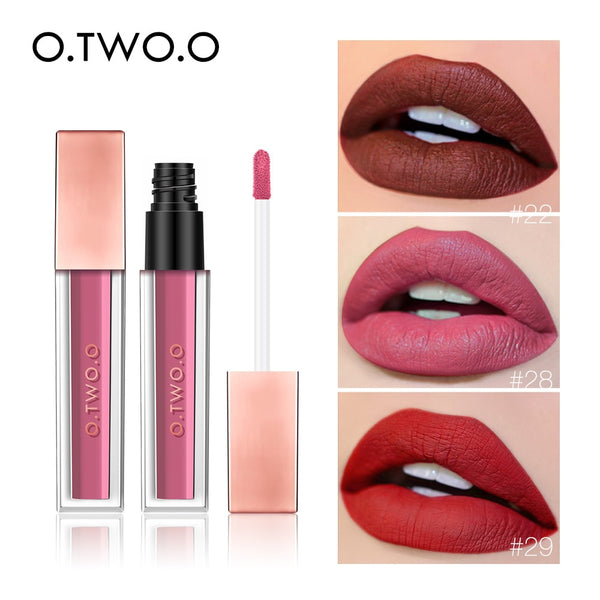 O.TWO.O Waterproof Matte Lip Gloss Moisturizer Smooth Lip Stick Long Lasting Liquid Lipstick Cosmetic Makeup Lipgloss 15 Colors