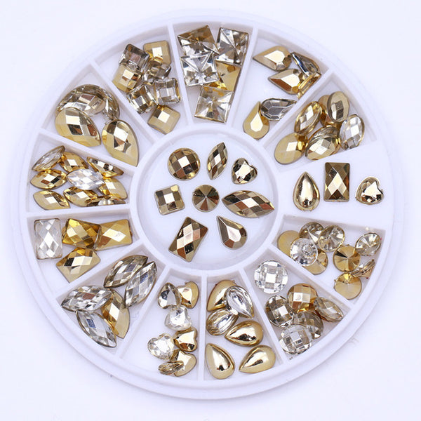 Opal AB Color Nail Rhinestone Colorful Marquise Heart Flat Bottom Manicure 3D Nail Art Decoration in Wheel