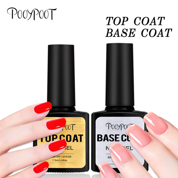 Pooypoot Top Manteau Bas de Gel Vernis À Ongles 7.5 ml UV LED Tremper Hors Apprêt Constructeur Ongle Gel Vernis Transparent Pour L'art D'ongle
