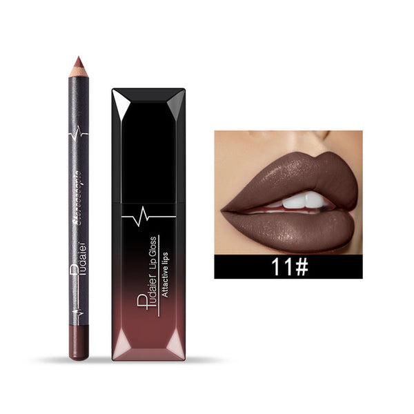 Lip Gloss Tint Liquid Matte Makeup with Lip Liners Pencil Rouge a Levre Mat
