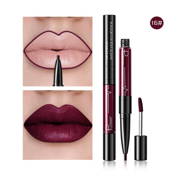Hot 16 Colors 2 in 1 Lip Pen And Labial Glair Velvet Matte Lip Gloss Waterproof