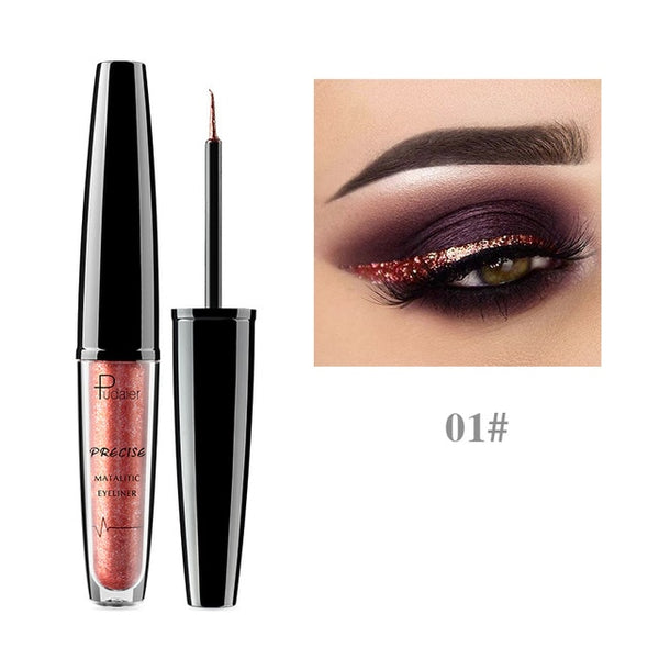 Pudaier 16 Colors Liquid Eyeliner Metallic Eye Liner Pencil Waterproof Makeup Glitter Shimmer matt Nude Delineador Cosmetics