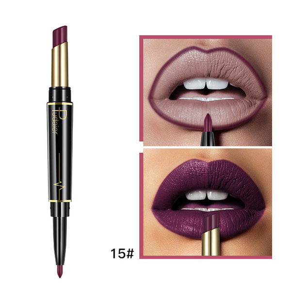 New 16 Colors Double Side Lipstick Pencil Waterproof Makeup Half Matte Lip Stick Long Lasting
