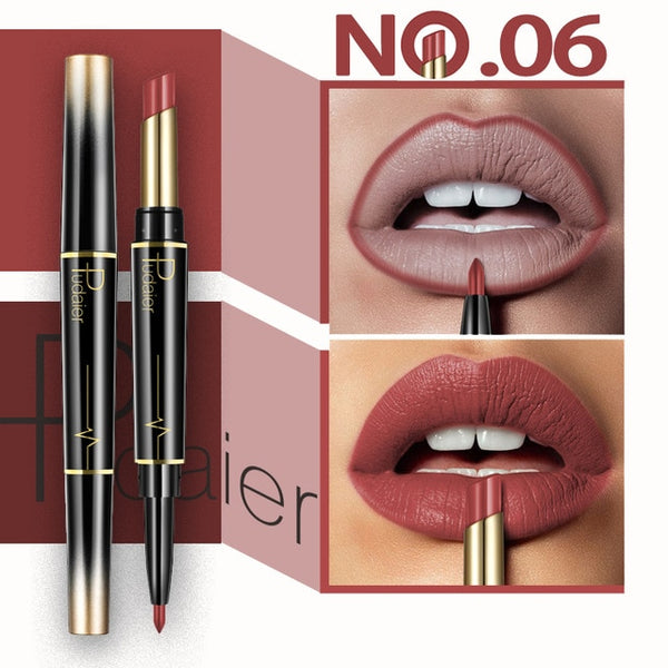 Double Head Fashion Lipstick Pencil Waterproof Makeup 16 colors