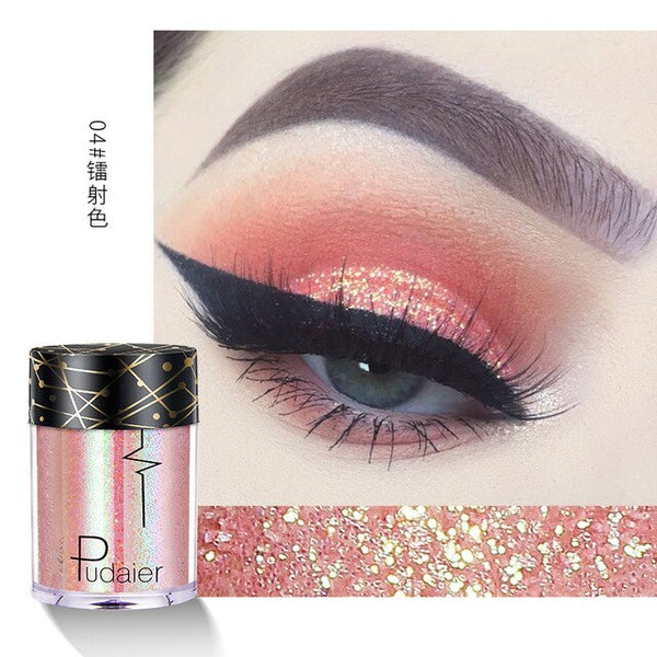 Pudaier 1PC 30colors Glitter Eyeshadow Pigment Powder Face Lip Nail Makeup Multipurpose Glue-Free Eye shadow Shimmer Waterproof