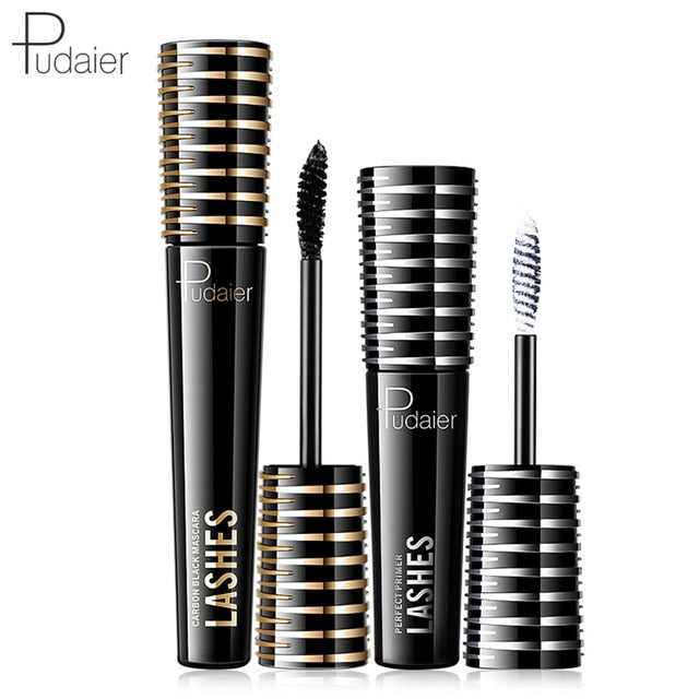 New 2PCS Eye Makeup Combination Carbon Black Mascara+White Fiber Cream Primer Lashes Waterproof