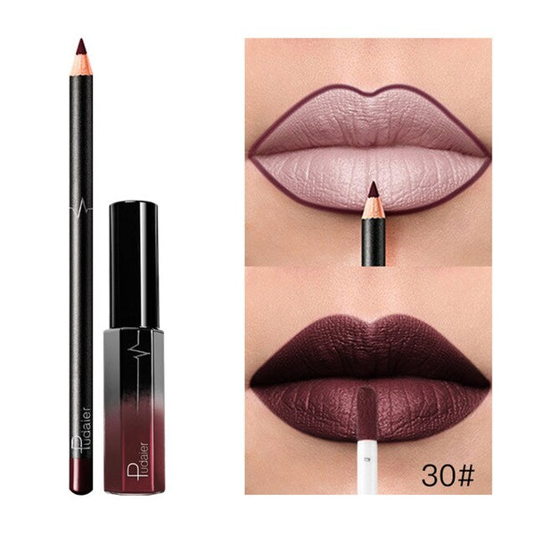 New 36 Colors Lipgloss + Lipliner Matte Lip Gloss liner