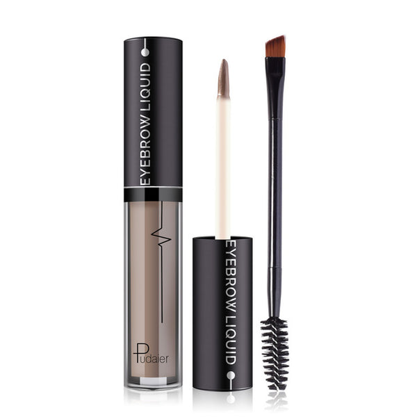 Pudaier 4 Colors Liquid Eyebrow with Brush Waterproof Eye Brow Enhancer Tint Lapiz Cejas Semi-Lasting Natural Beauty Makeup