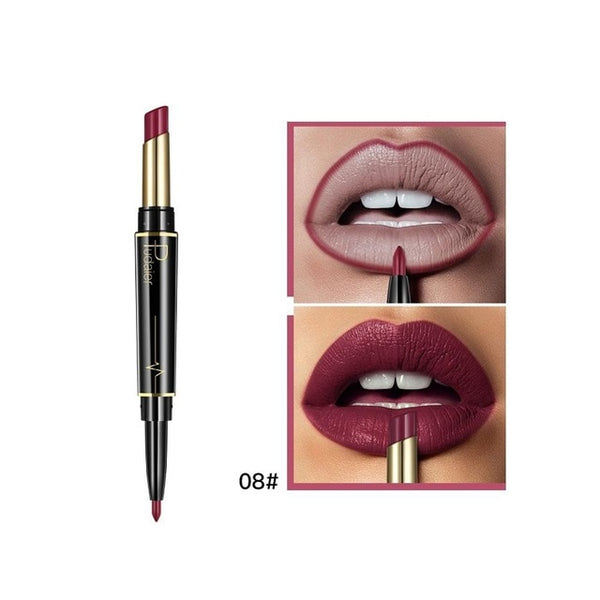 Pudaier Brand Matte Lipstick Cosmetics Waterproof Double Ended Long Lasting Nude Red Matte Lips liner Pencil Lipstick