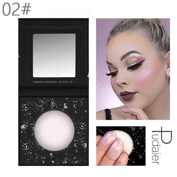 Pudaier Diamond Highlighter for Face Makeup Illuminator Makeup Long-lasting Waterproof Blush Powder for Face Highlighter Palette