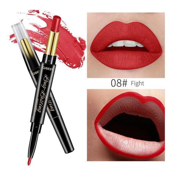 QIBEST 2 In 1 Double-end Lip liner Pencil Waterproof Nude Color Sexy Lipstick Long-lasting Women Beauty Makeup Tools  #288865