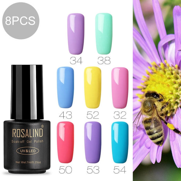 ROSALIND 7ml Gel nail polish Hybrid manicure Set For Poly gel painting art UV LED Lamp nail Gel Varinishes