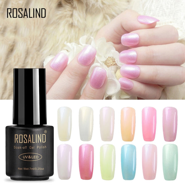 HOT  7ml  Pearl UV Nail Gel Polish Pure Color UV Soak Off Nail Polish Semi Vernis Permanent gel lacquer