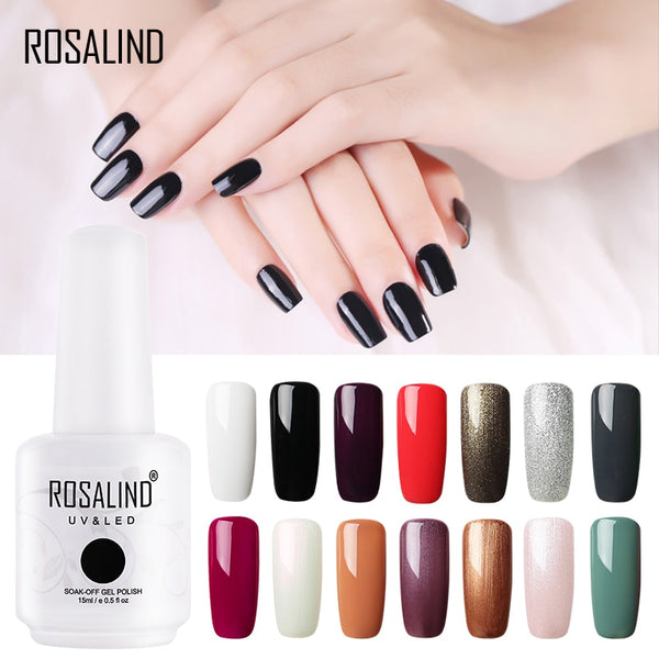 ROSALIND Nail Polish 15ml Gel Nail 01-30 Nail Art Set For Manicure Semi Permanent Soak Off Top White Primer Gel Lacquer