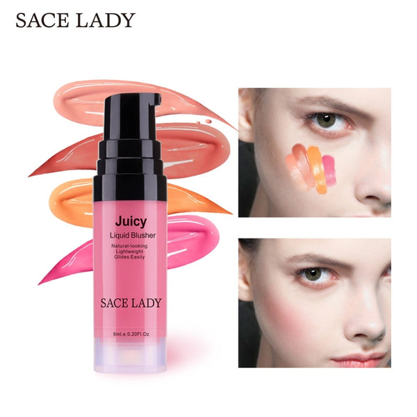 SACE LADY 4 Colors Liquid Blush Makeup Face Rouge Long Lasting Make Up Professional Natural Cheek Blusher Face Contour Cosmetic