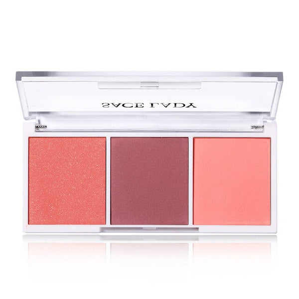 SACE LADY Blush Palette Makeup Face Blusher Powder 3 Colors Professional Cheek Make Up Minerals Rouge Natural Peach Cosmetic