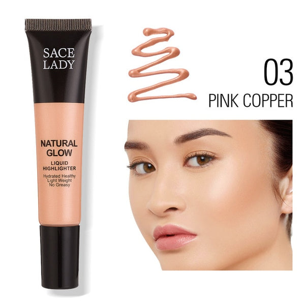 SACE LADY Liquid Highlighter Makeup Face Illuminator Cream Professional Shimmer Make Up Beauty Glow Kit Brighten Cosmetic