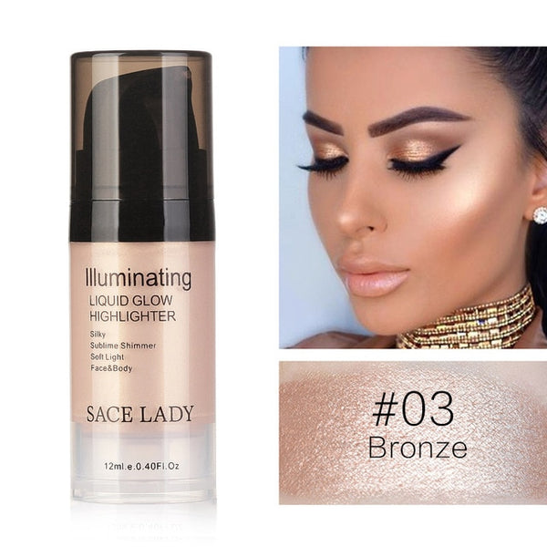 SACE LADY Liquid Highlighter Makeup Shimmer Bronzer Illuminator Make Up Glow Kit For Face and Body Brand Professional Cosmetic