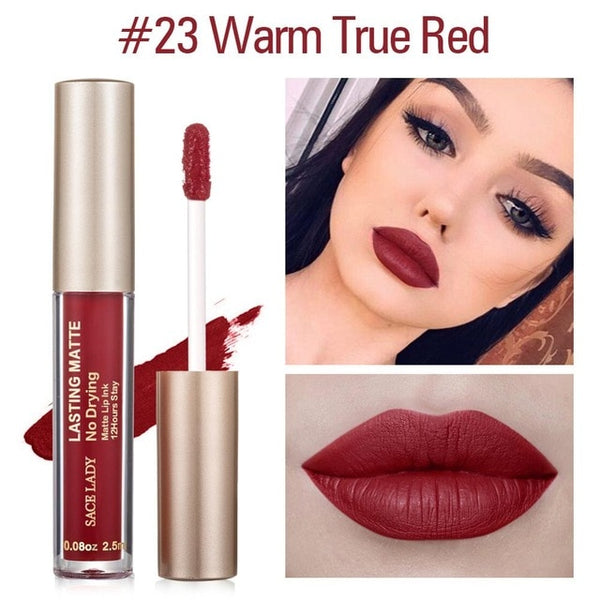 Matte Lipstick Makeup 23 Color Liquid Lipstick Red Nude Lip Tint Moisturizing Make Up Waterproof Long Lasting Cosmetic