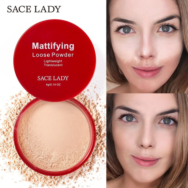 SACE LADY Matte Loose Powder Makeup Professional Face Setting Powder Oil-control Make Up Translucent Brighten Finish Cosmetic