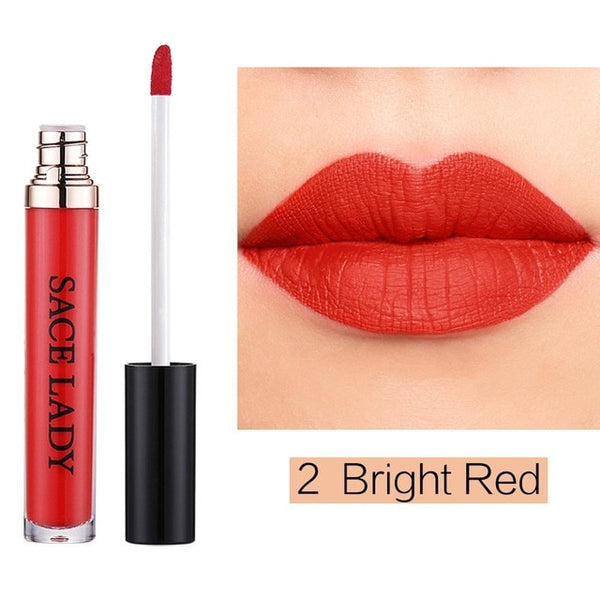 Matte Waterproof Lipstick 22 Colors Liquid Lip Gloss Tint Long-lasting Makeup Stick Nuke Paint Make Up Purple Pigment