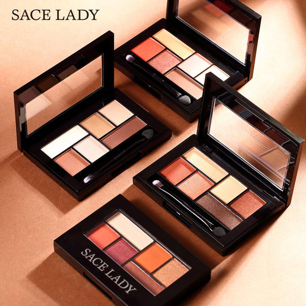 SACE LADY Nude Eye Shadow Palette Waterproof Pigment Cosmetics set Shimmer Matte 6 Colors Eyeshadow Palette Glitter Makeup kit