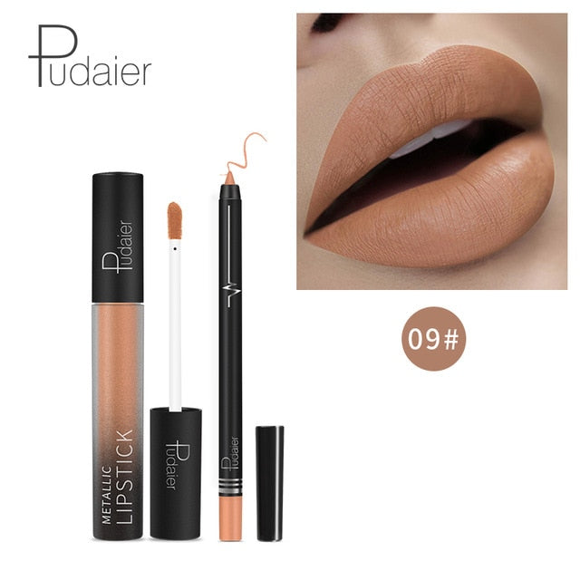 HOT 26Colors Kylijen Matte Liquid Lipstick Lipgloss +Lip Lipliner