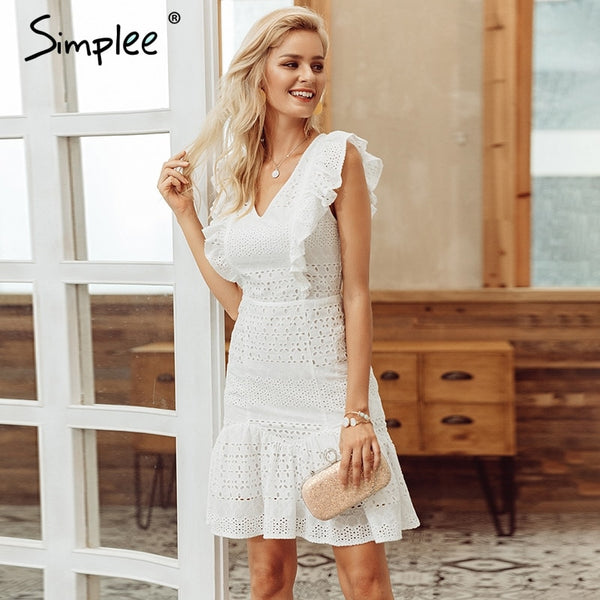 women summer dress Ruffled high waist