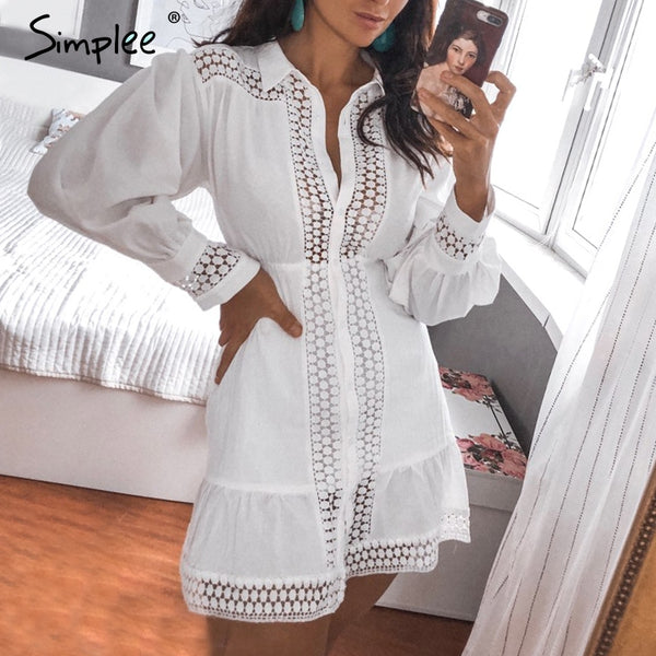 lace women dress Long lantern sleeve dress