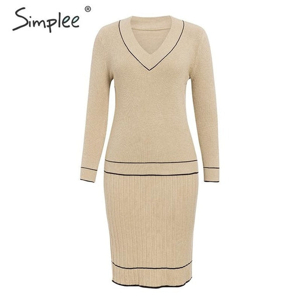 Simple Elegant two-piece women knitted dress V neck