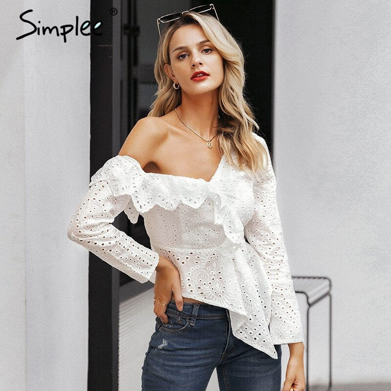 Sexy one shoulder women blouse shirt