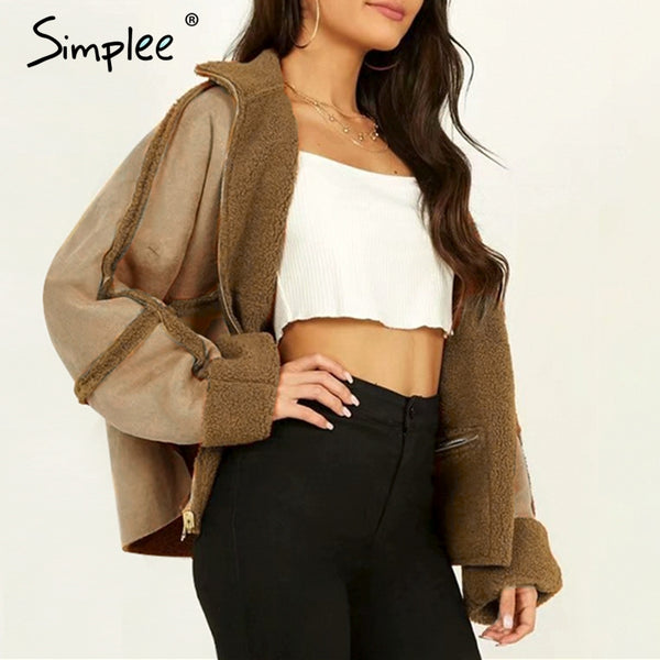 New Two-way lambs wool suede coat women