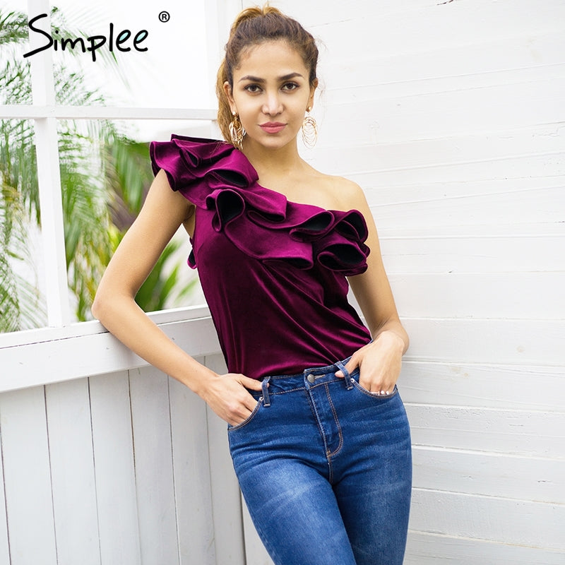 Velvet one shoulder ruffle blouse shirt Women