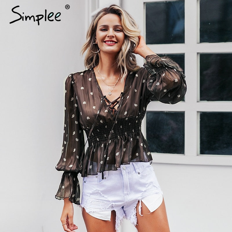 women blouse Ethnic lace up lantern sleeve brown top shirts